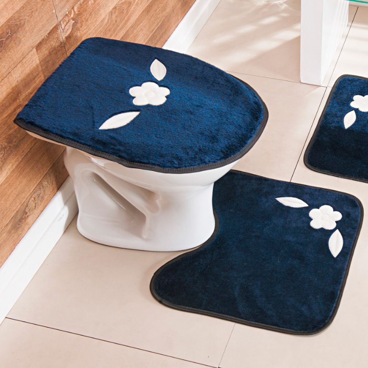 Jogo de Banheiro Premium Bordado Margarida Única Azul Marinho 03 Peças