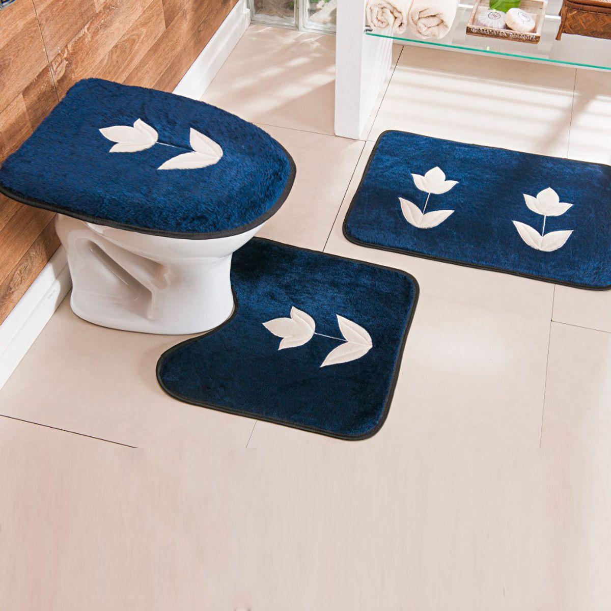 Jogo de Banheiro Premium Bordado Tulipa Azul Marinho 03 Peças