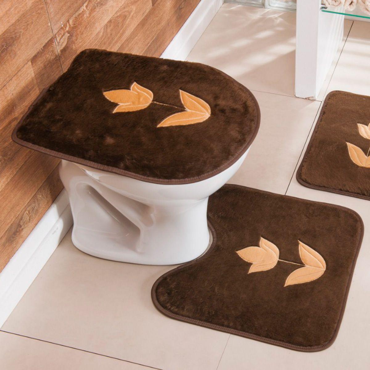 Jogo de Banheiro Premium Bordado Tulipa Café 03 Peças