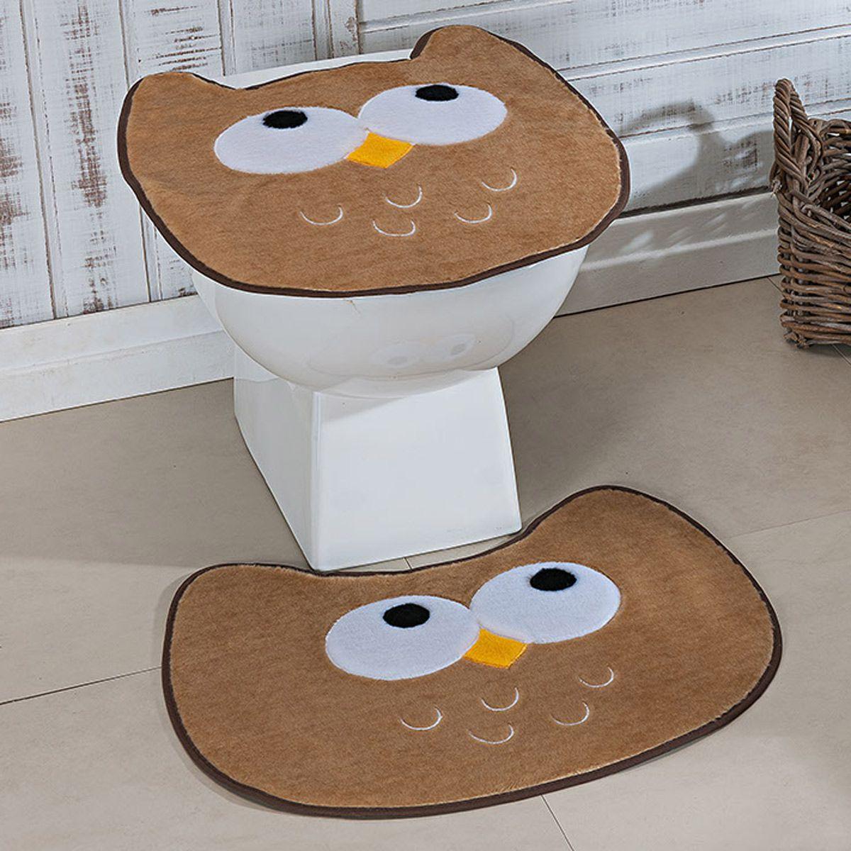 Jogo de Banheiro Premium Formato Coruja Bege 03 Peças