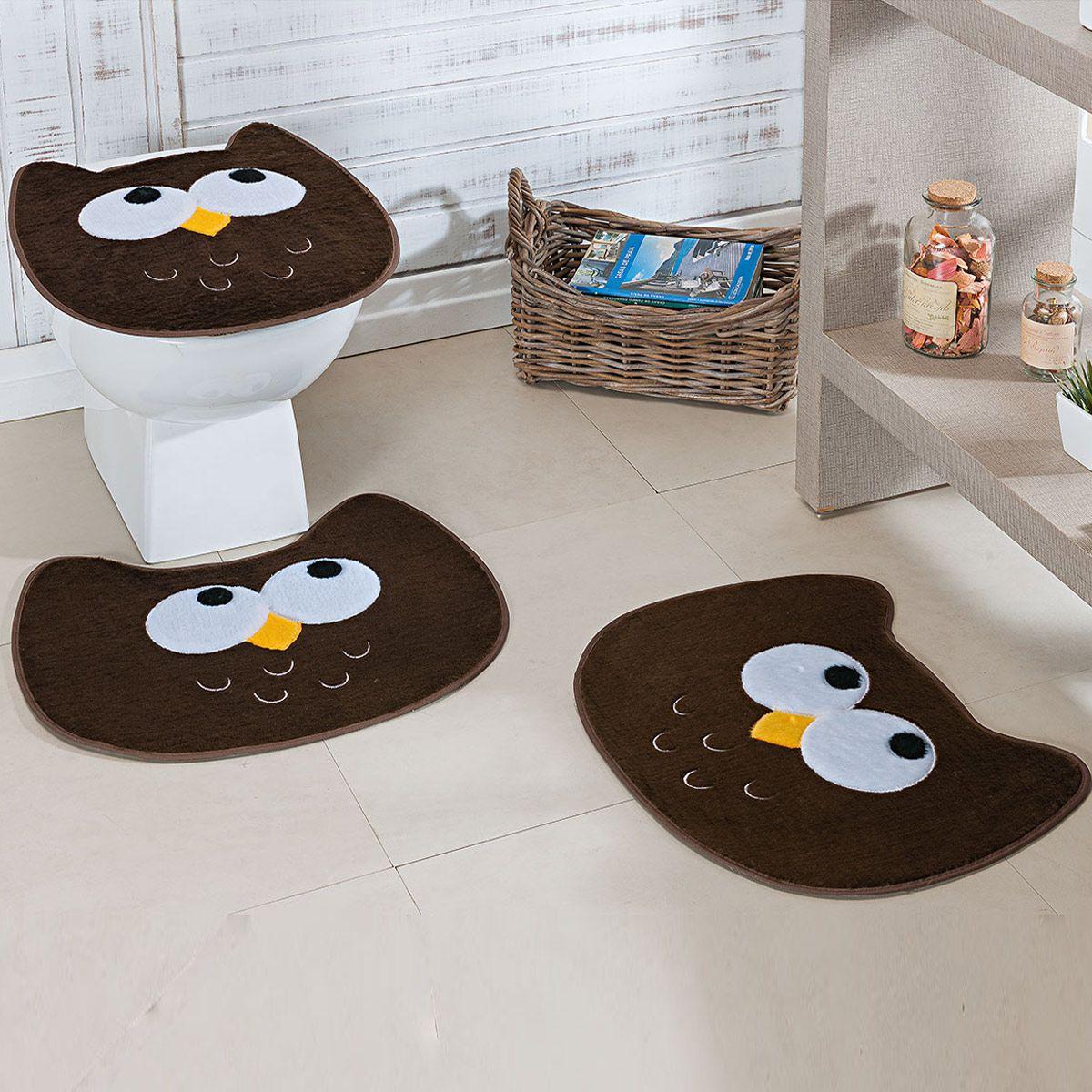 Jogo de Banheiro Premium Formato Coruja Café 03 Peças