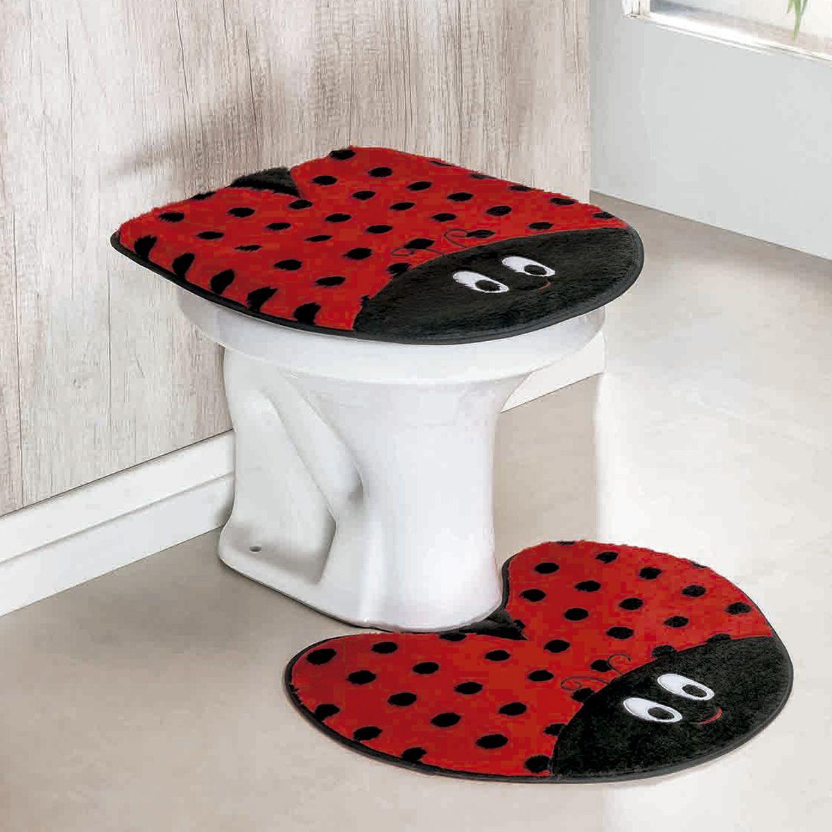 Jogo de Banheiro Premium Formato Joaninha Vermelho 03 Peças