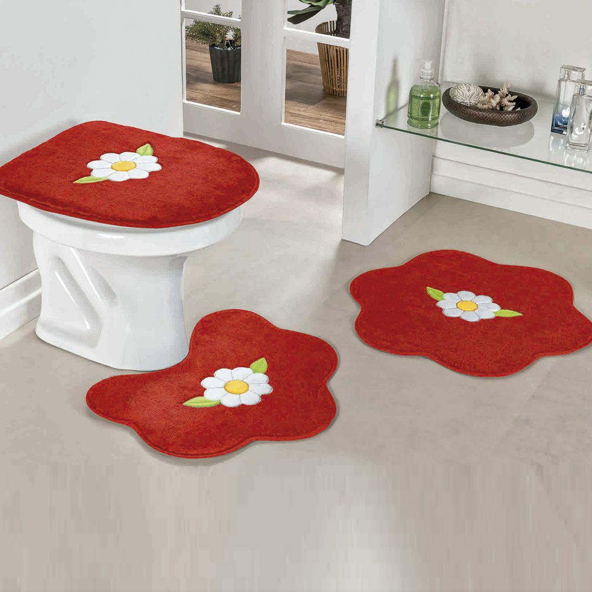 Jogo de Banheiro Premium Formato Margarida Folha Vermelho 03 Peças