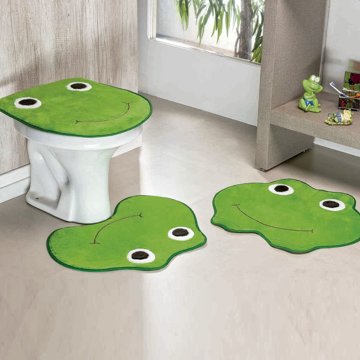 Jogo de Banheiro Premium Formato Sapo Verde Pistache 03 Peças