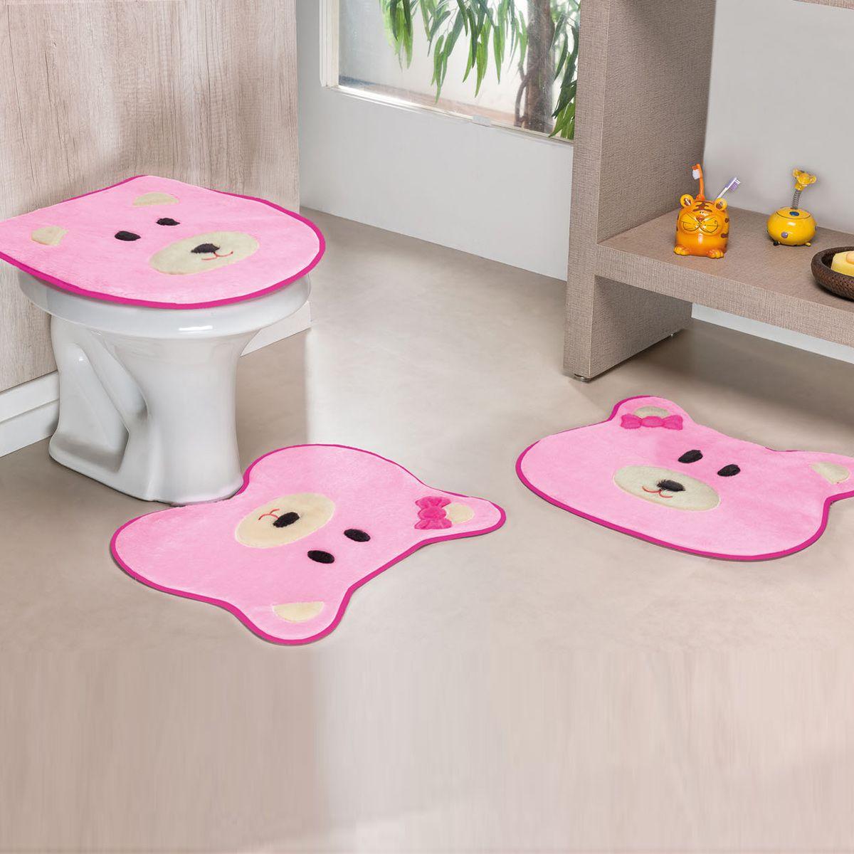 Jogo de Banheiro Premium Formato Ursa Rosa 03 Peças
