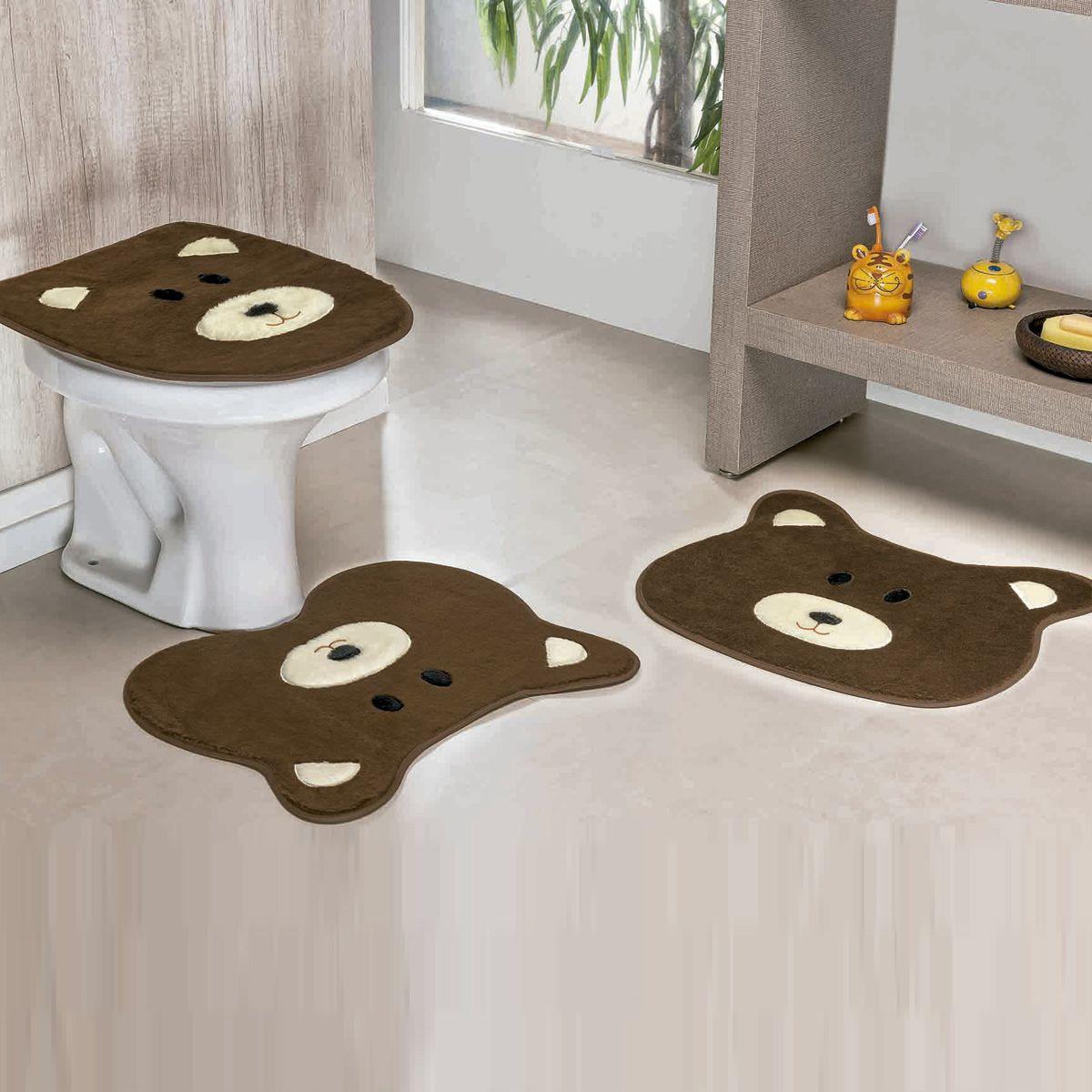 Jogo de Banheiro Premium Formato Urso Café 03 Peças