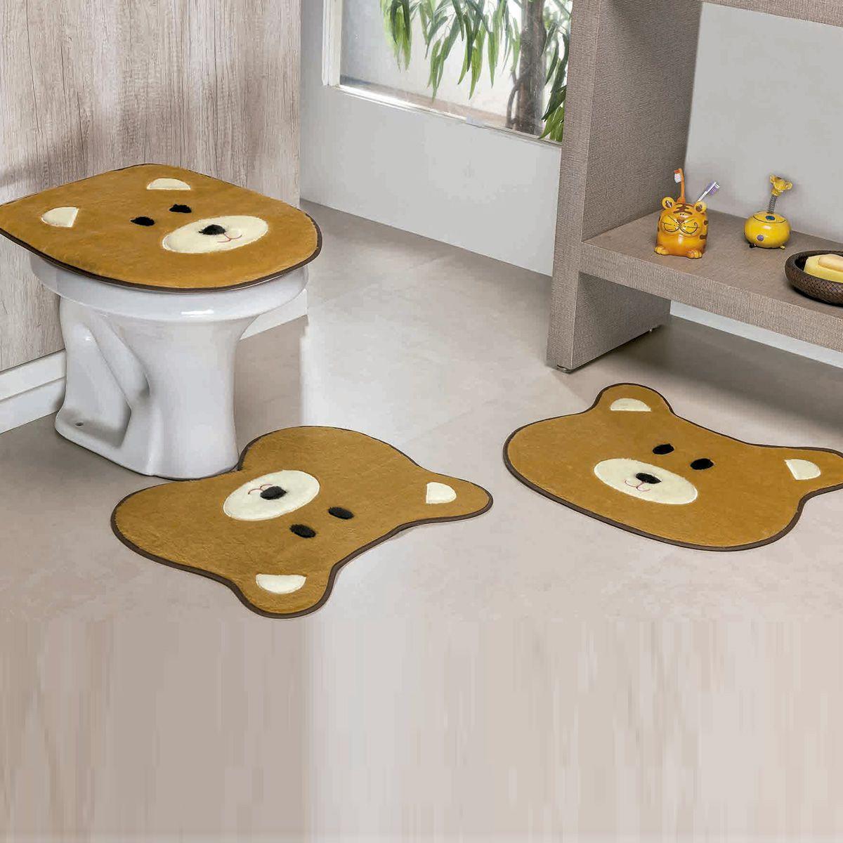 Jogo de Banheiro Premium Formato Urso Caramelo 03 Peças