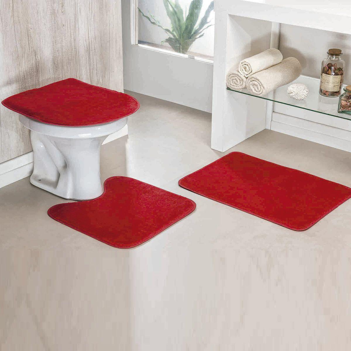 Jogo de Banheiro Premium Liso Vermelho 03 Peças