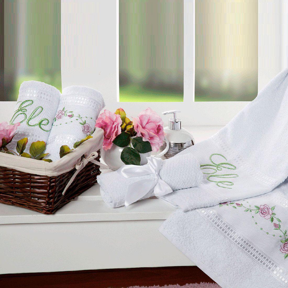 Jogo de Banho Bouquet Branco 100% Algodão 05 Peças