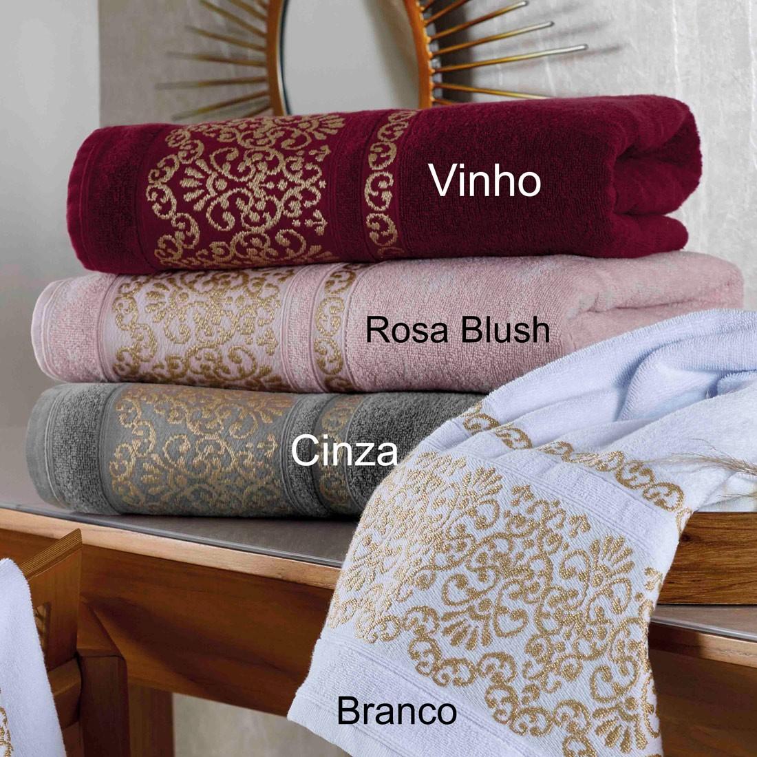 Jogo de Banho Esplendor Rosa Blush 470 g/m² 100% Algodão 05 Peças