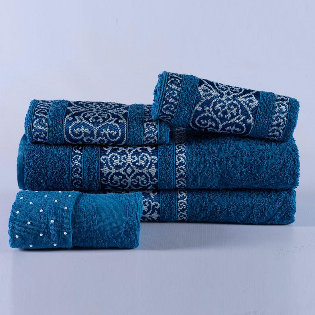 Jogo de Banho Firenze Azul Felpa 100% Algodão 500g/m² - 05 Peças