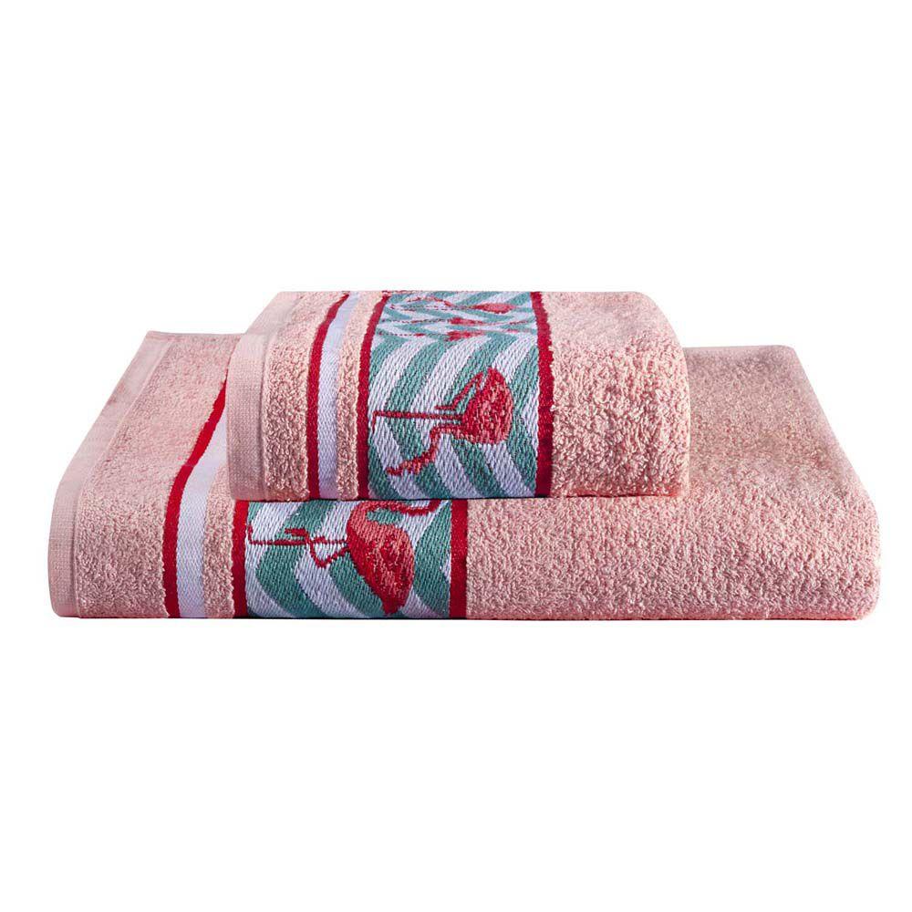 Jogo de Banho Flamingo Rosa Quartz 360 g/m² 100% Algodão 02 Peças