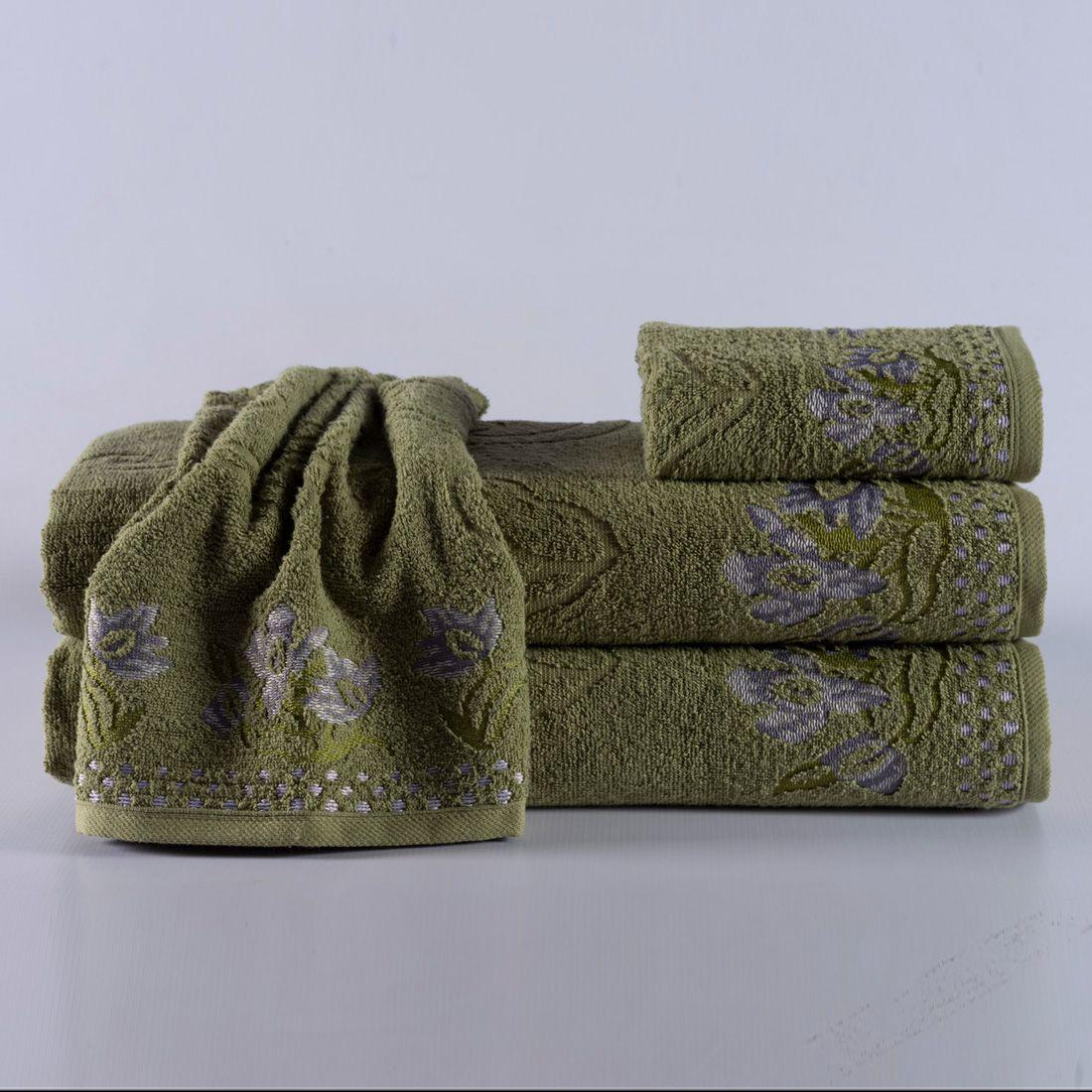 Jogo de Banho Isis Verde Cactus Felpa 100% Algodão 400g/m² - 04 Peças