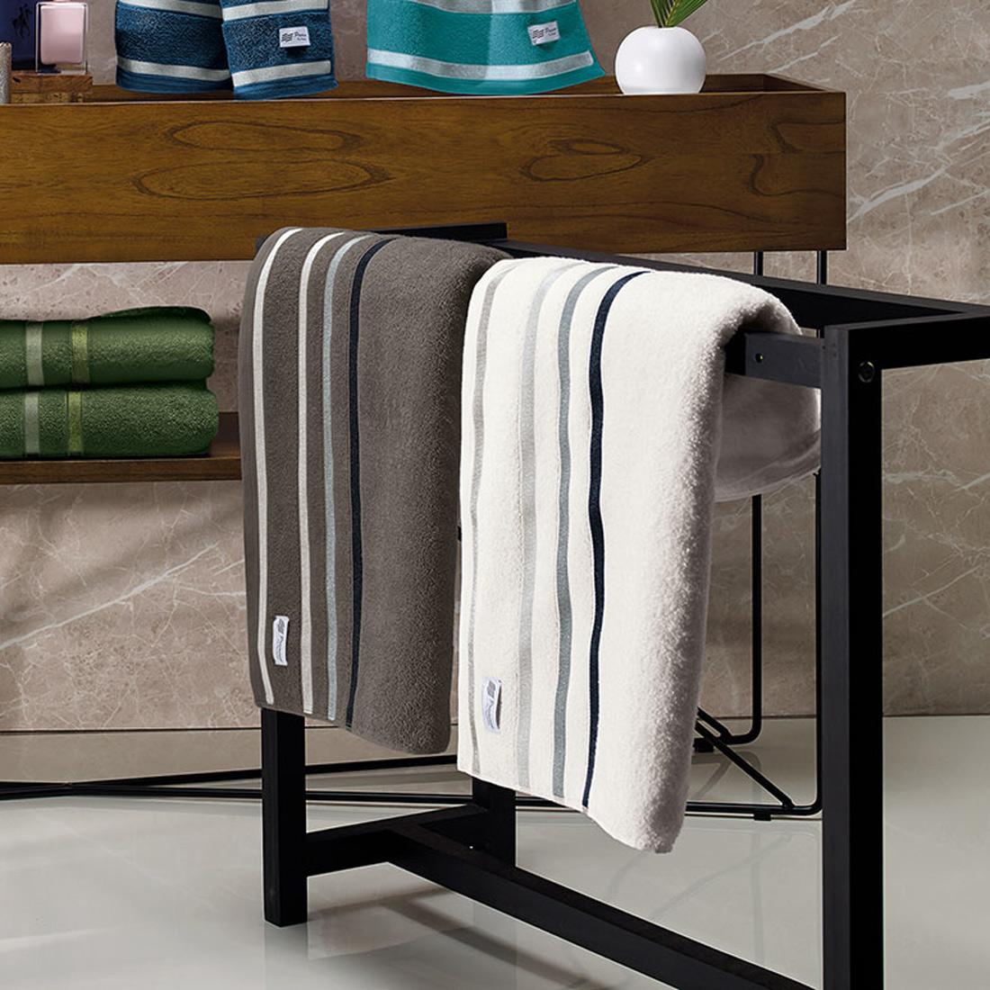 Jogo de Banho Lumiére Cinza/Branco 05 Peças - 100% Algodão 500g/m²
