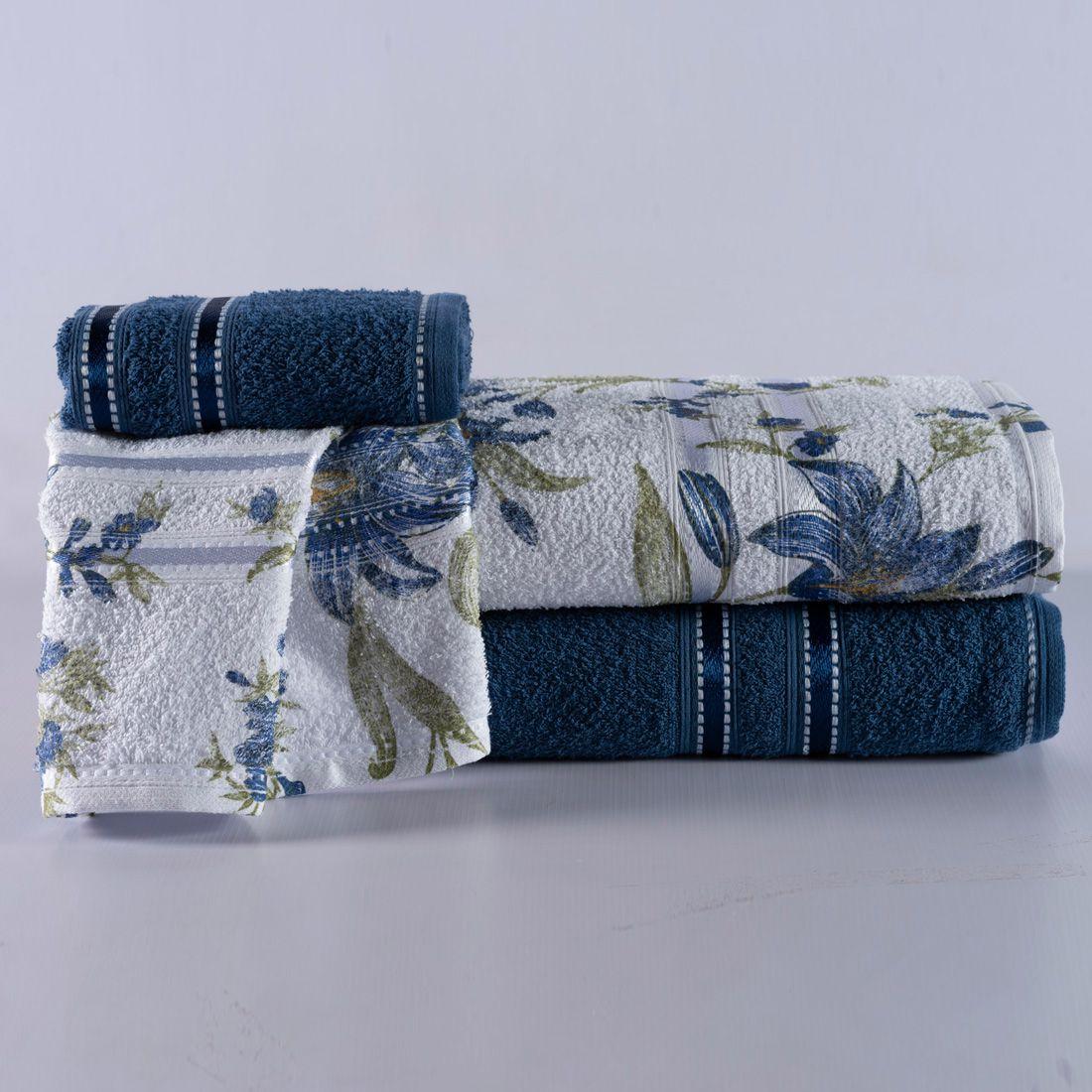 Jogo de Banho Noblesse Marinho/Floral Azul Felpa 100% Algodão 340 g/m² - 02 Peças