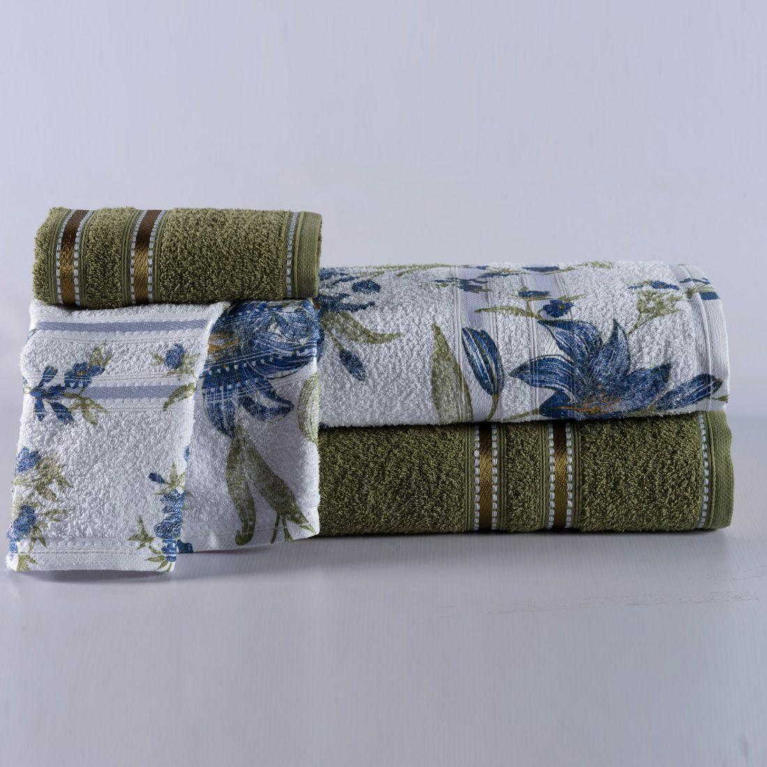 Jogo de Banho Noblesse Verde/Floral Azul Felpa 100% Algodão 340 g/m² - 02 Peças