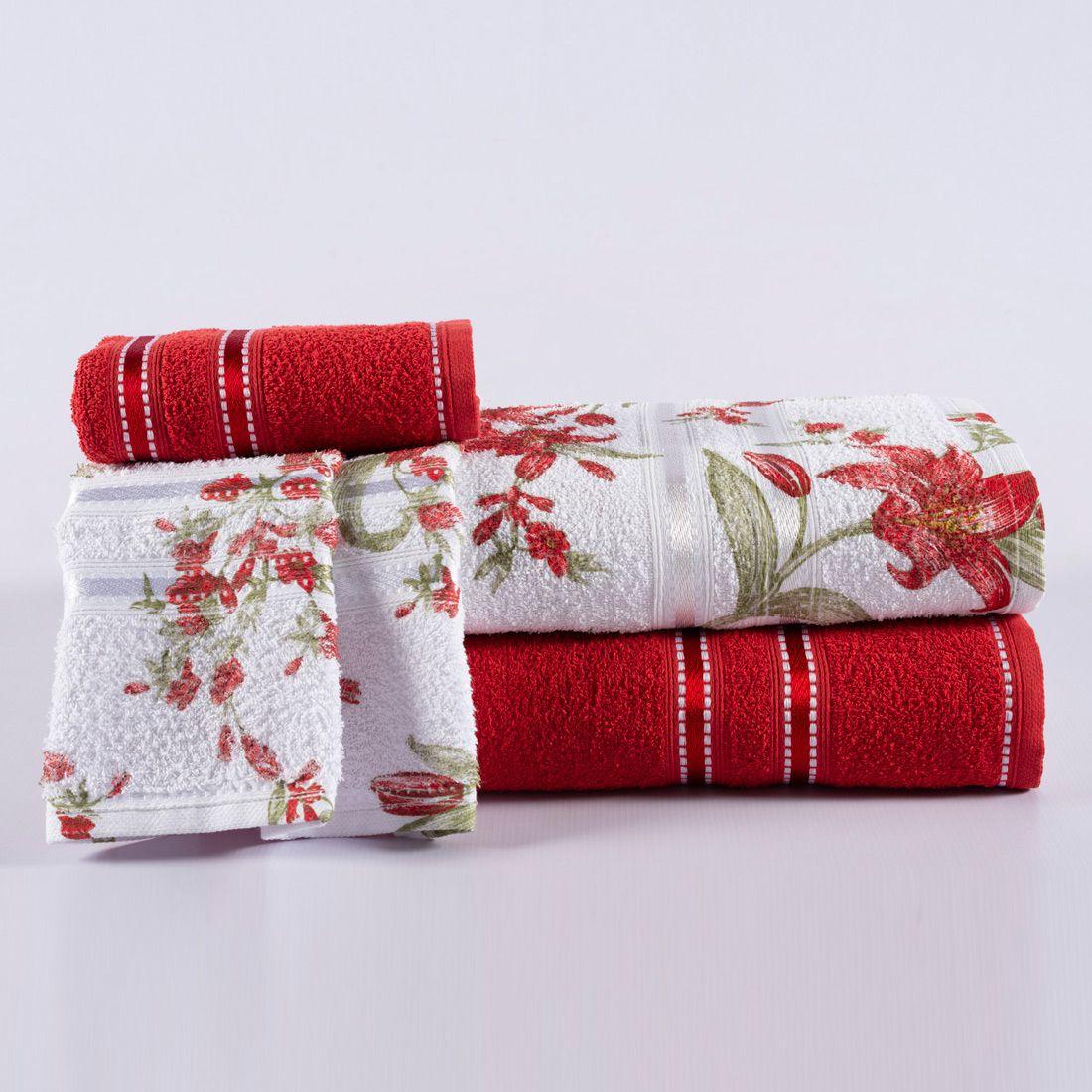 Jogo de Banho Noblesse Vermelho/Floral Felpa 100% Algodão 340 g/m² - 02 Peças