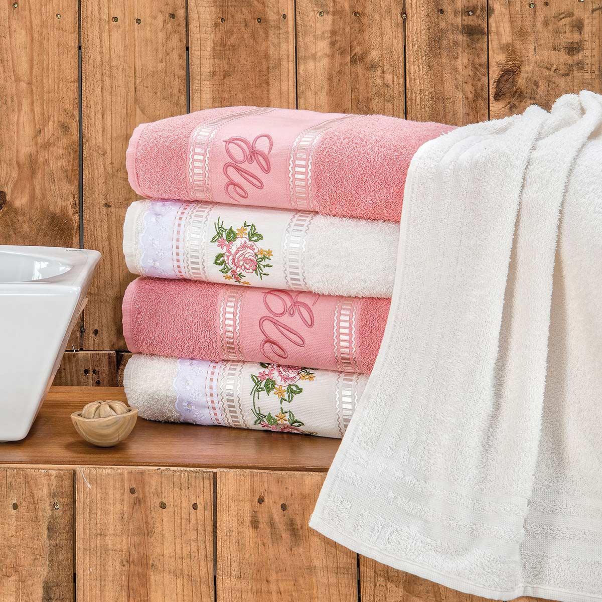 Jogo de Banho Ponto Russo Rosa 370 g/m² 100% Algodão 05 Peças