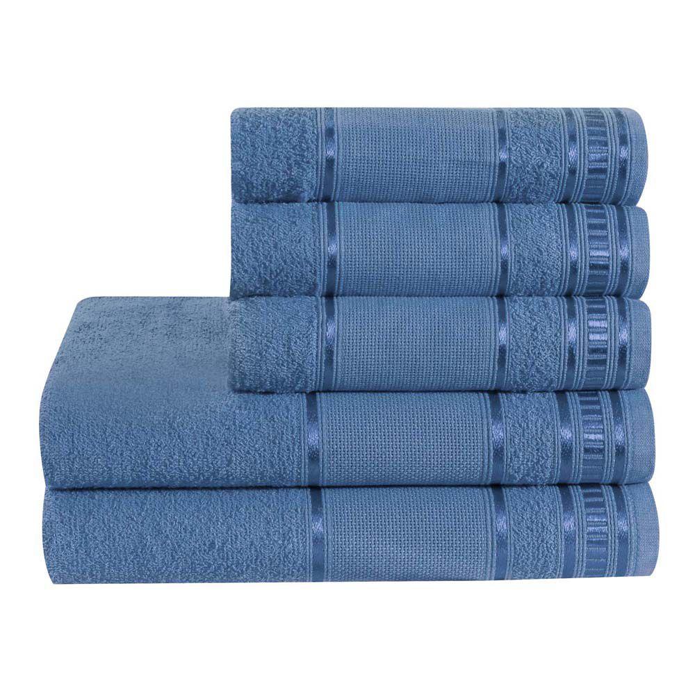 Jogo de Banho Premium Azul Jeans 285 g/m² 100% Algodão 05 Peças