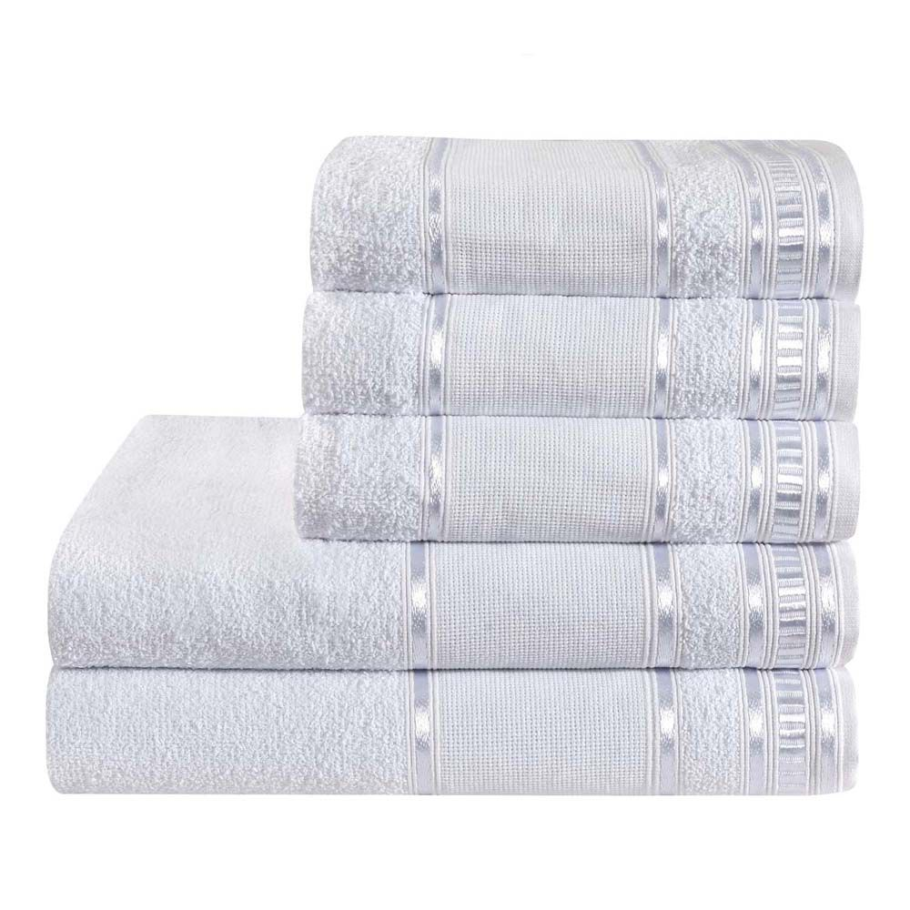 Jogo de Banho Premium Branco 285 g/m² 100% Algodão 05 Peças