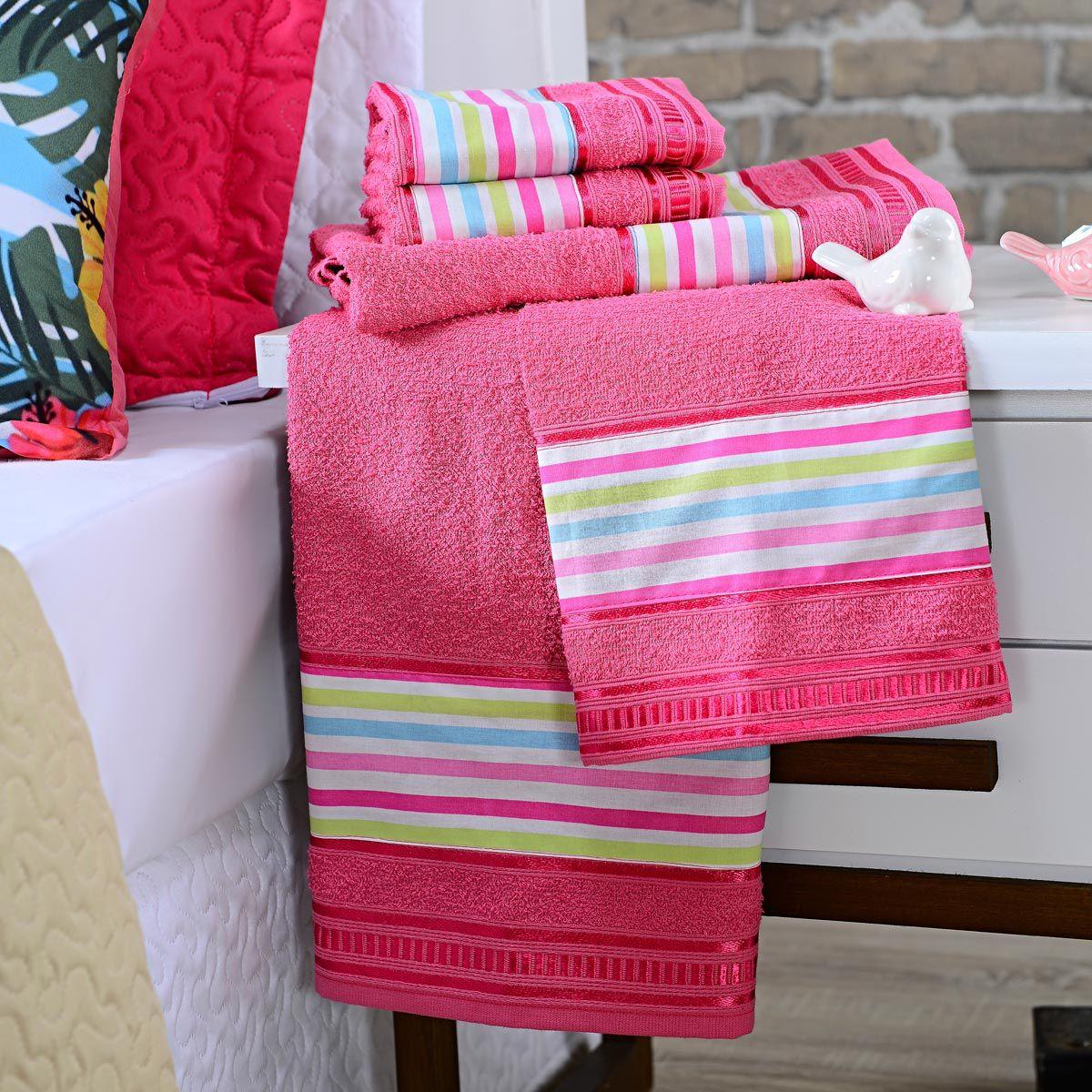 Jogo de Banho Premium Listras Pink 285 g/m² 100% Algodão 05 Peças