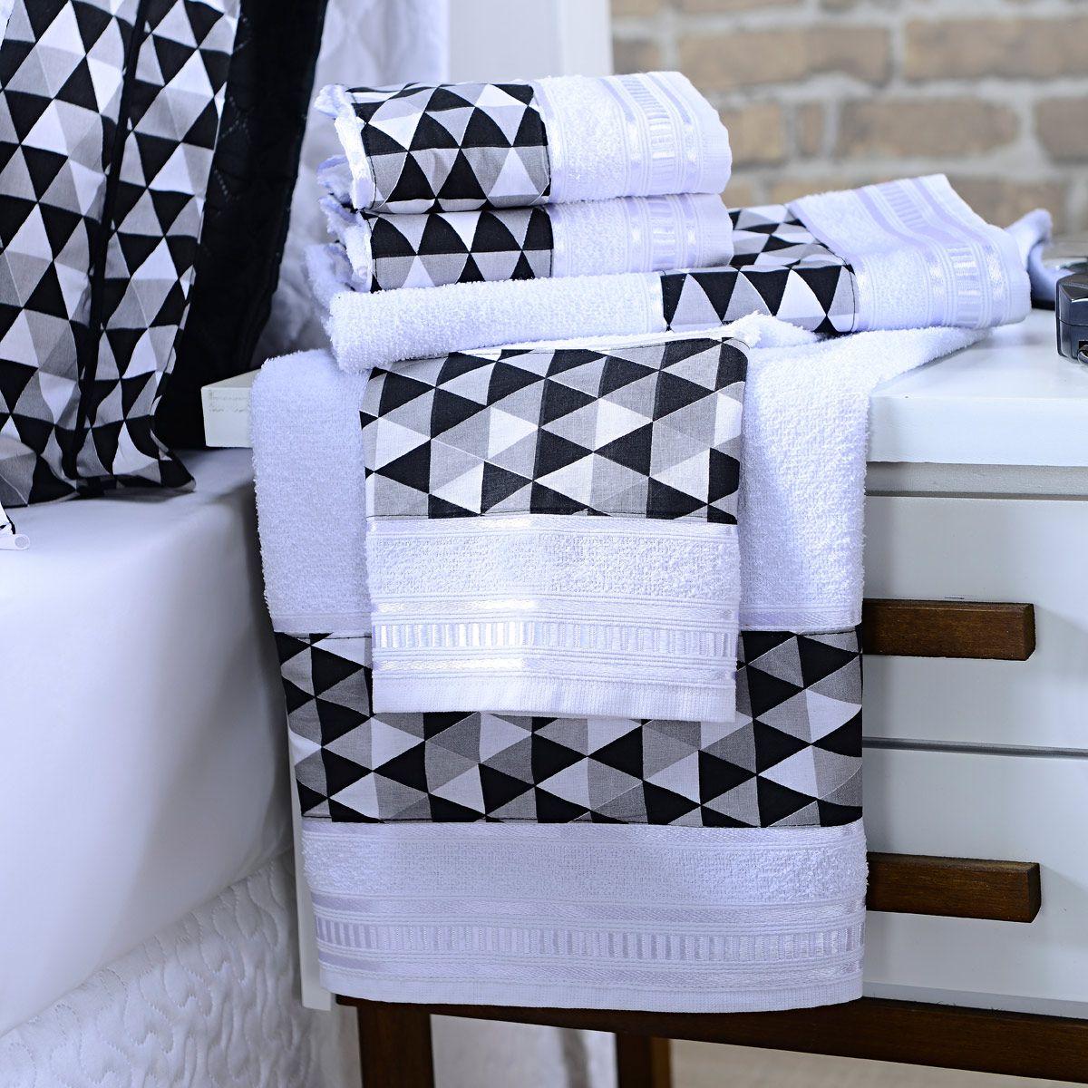 Jogo de Banho Premium Mosaico Preto/Branco 285 g/m² 100% Algodão 05 Peças