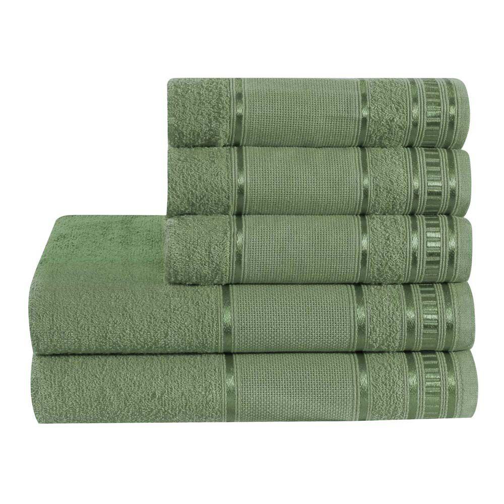 Jogo de Banho Premium Verde Tropical 285 g/m² 100% Algodão 05 Peças