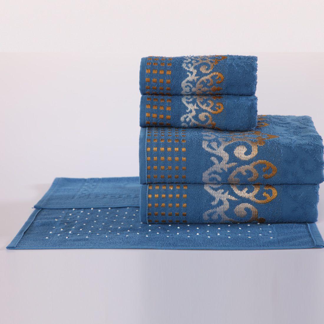 Jogo de Banho Sofisticata Azul Felpa 100% Algodão 480 g/m² - 05 Peças