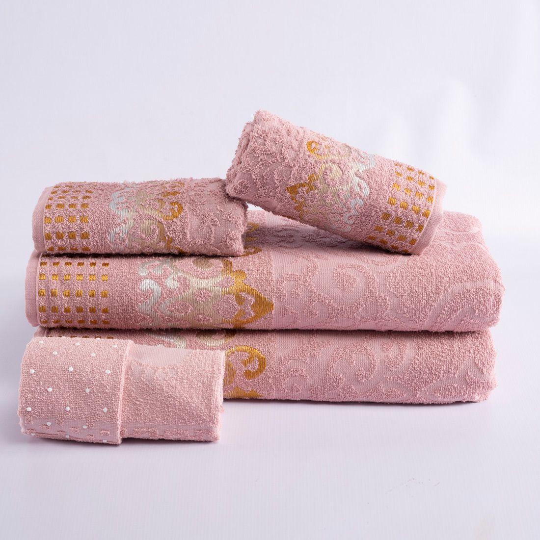 Jogo de Banho Sofisticata Rosê Felpa 100% Algodão 480 g/m² - 05 Peças