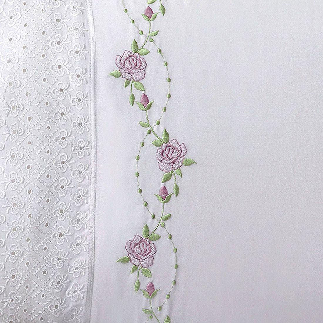 Jogo de Cama Bouquet Branco Queen 04 Peças - 100% Algodão