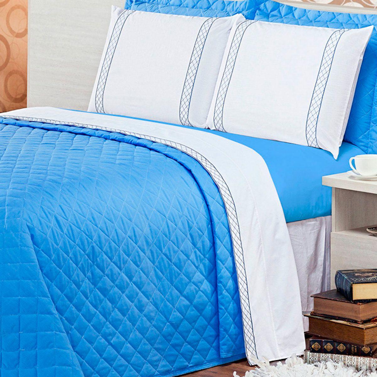 Jogo de Cama Casualle Branco/Azul Queen Percal 180 Fios 04 Peças