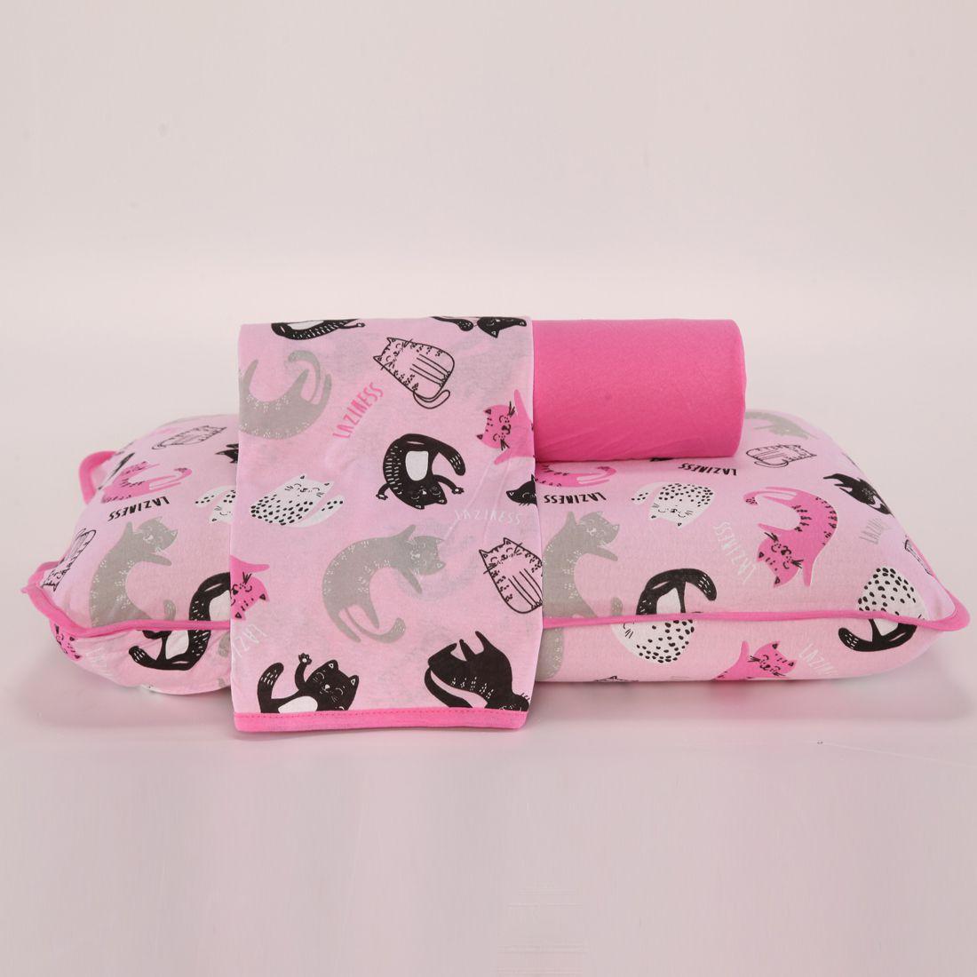 Jogo de Cama Cats Pink Queen 03 Peças - Malha 100% Algodão