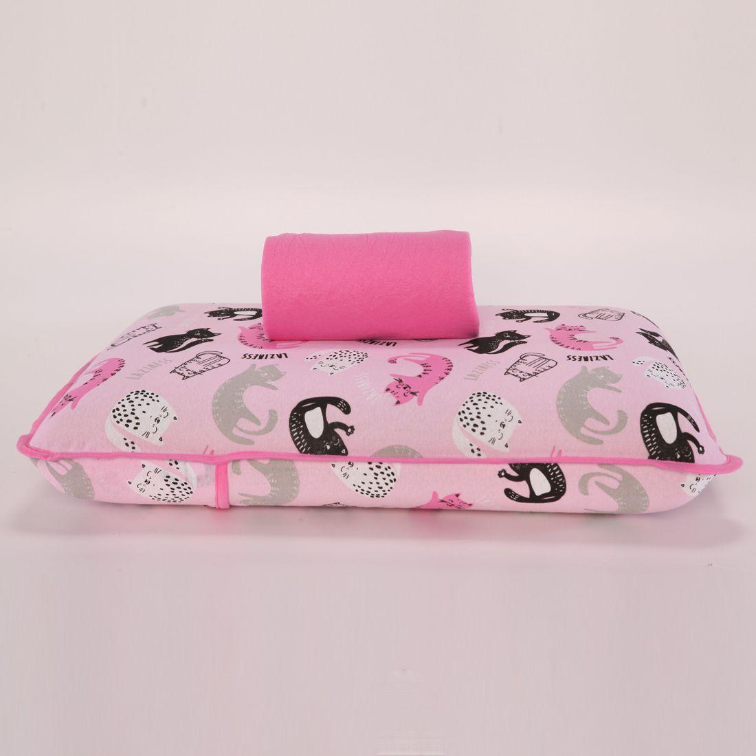 Jogo de Cama Cats Pink Solteiro 02 Peças - Malha 100% Algodão