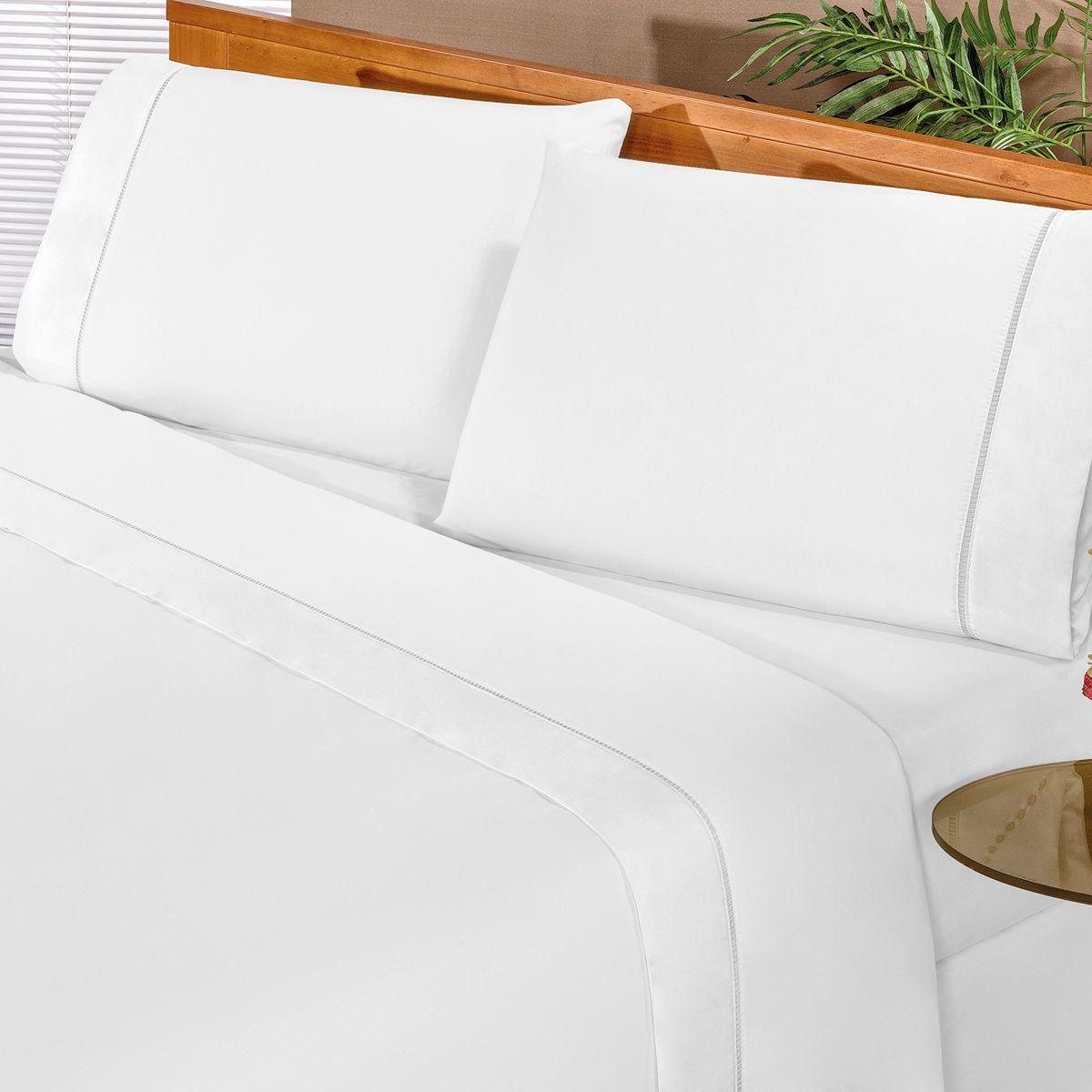 Jogo de Cama Elegance Branco Casal Percal 180 Fios 04 Peças