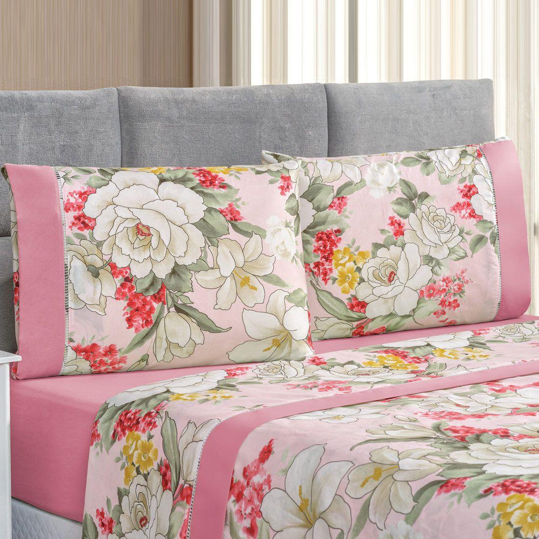 Jogo de Cama Forest Floral Rosa Casal Micropercal 200 Fios 04 Peças