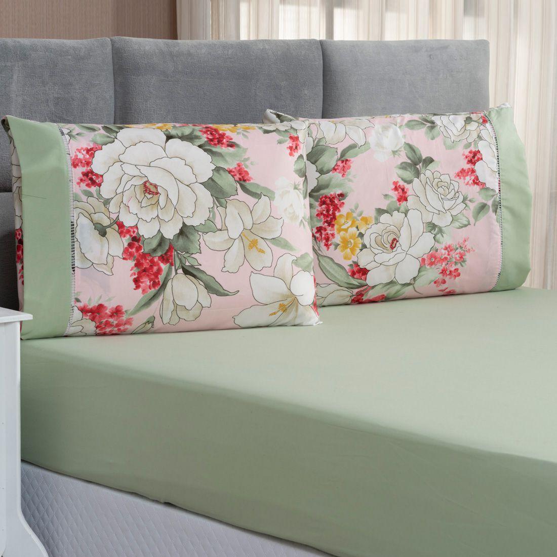 Jogo de Cama Forest Floral Verde/Rosê Queen Micropercal 200 Fios 03 Peças