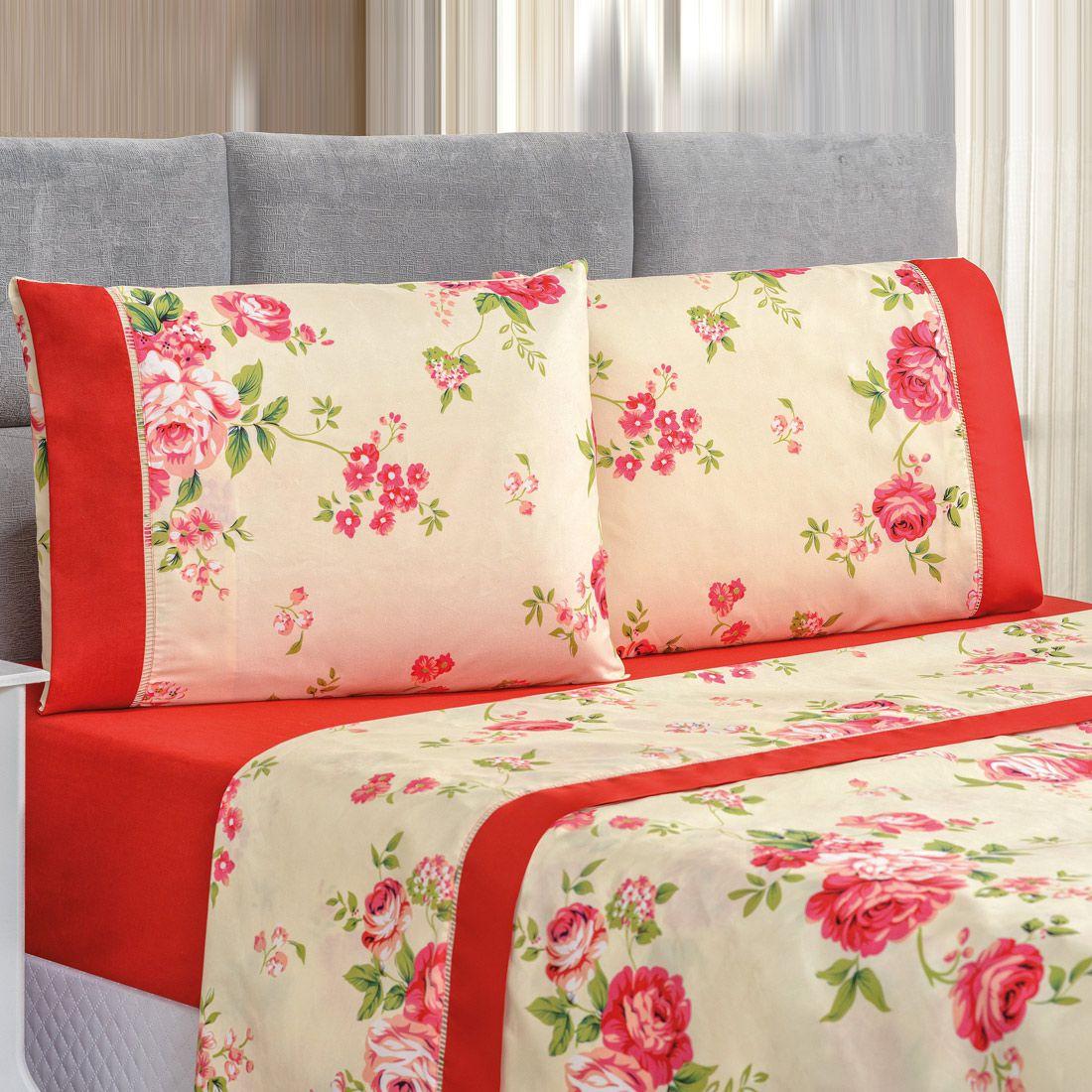 Jogo de Cama Forest Floral Vermelho Queen Micropercal 200 Fios 04 Peças