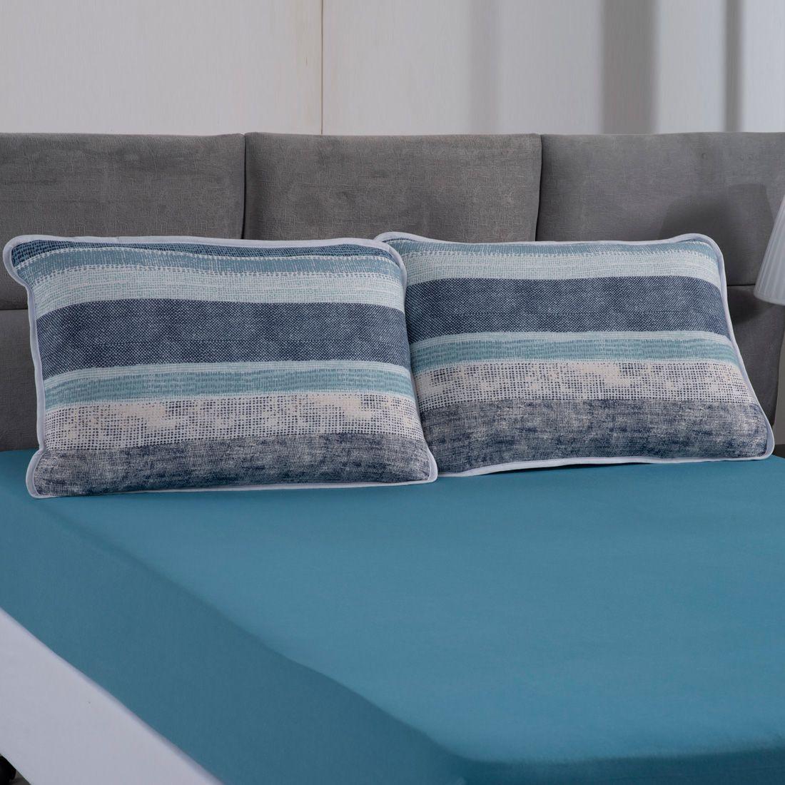Jogo de Cama Helsinque Azul Ártico Malha Casal 03 Peças - 100% Algodão