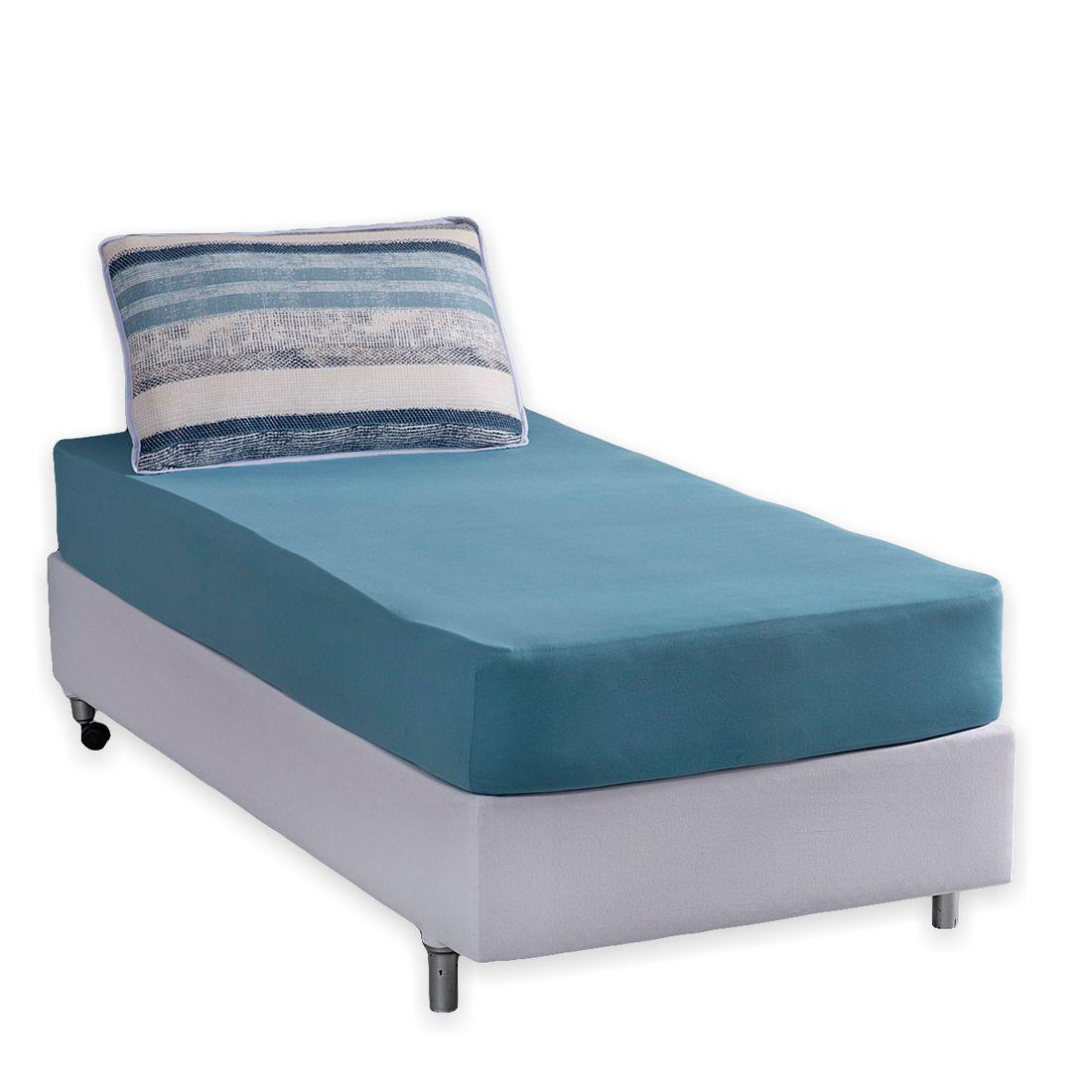 Jogo de Cama Helsinque Azul Ártico Malha Solteiro 02 Peças - 100% Algodão