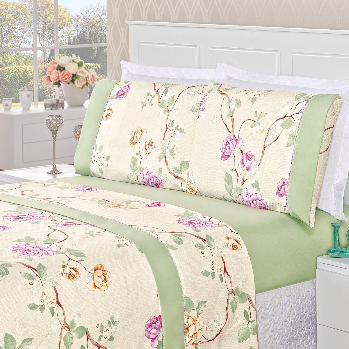 Jogo de Cama Naturale Floral Verde King Micropercal 200 Fios 04 Peças