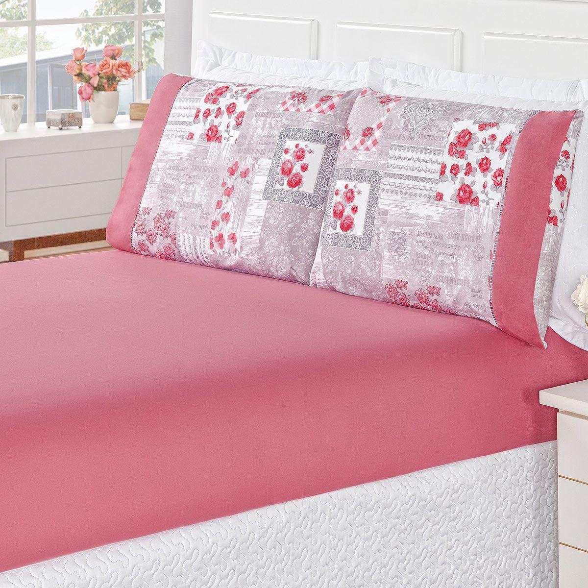 Jogo de Cama Naturale Patchwork Rosê Queen Micropercal 200 Fios 03 Peças