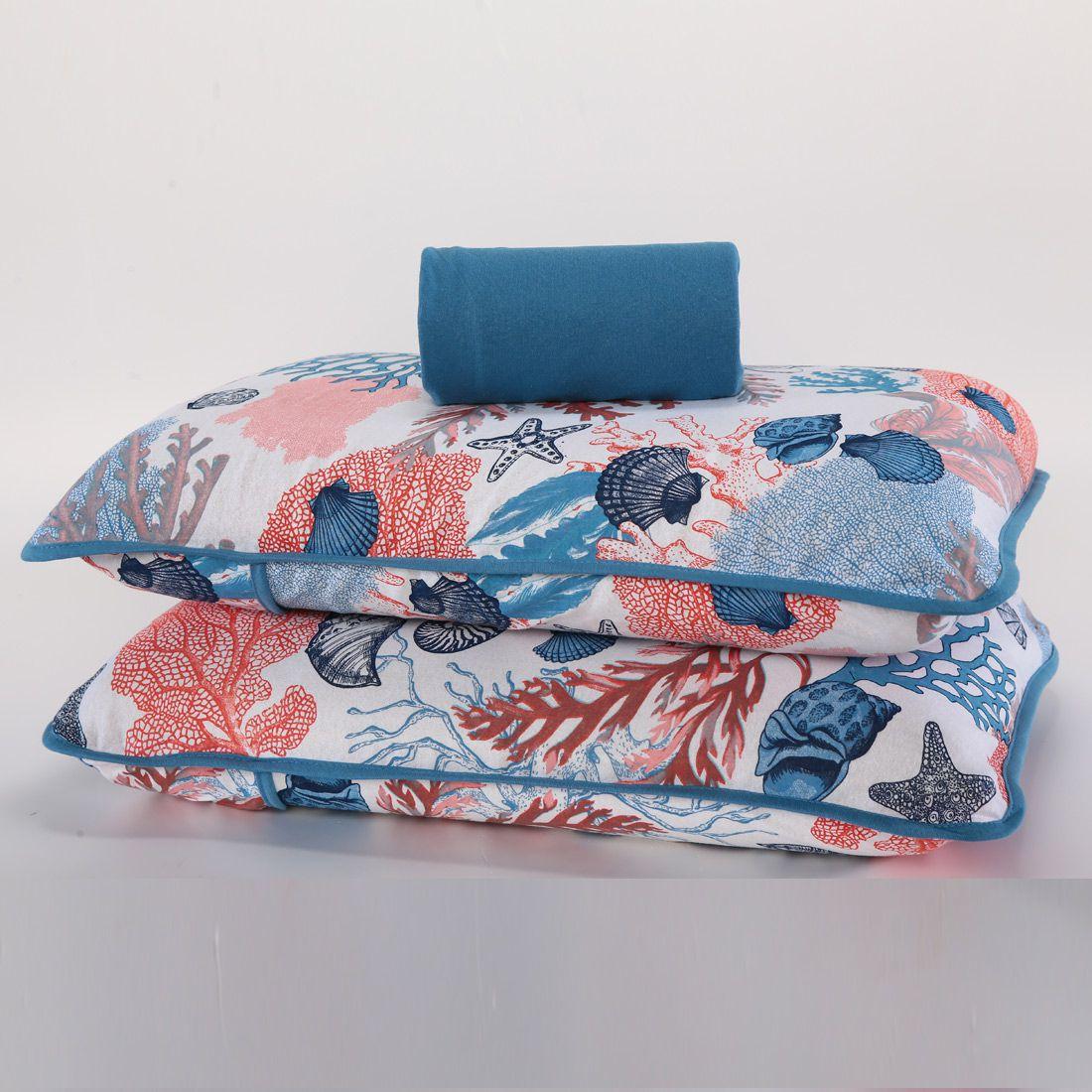 Jogo de Cama Oceano Azul Casal Padrão 03 Peças - Malha 100% Algodão