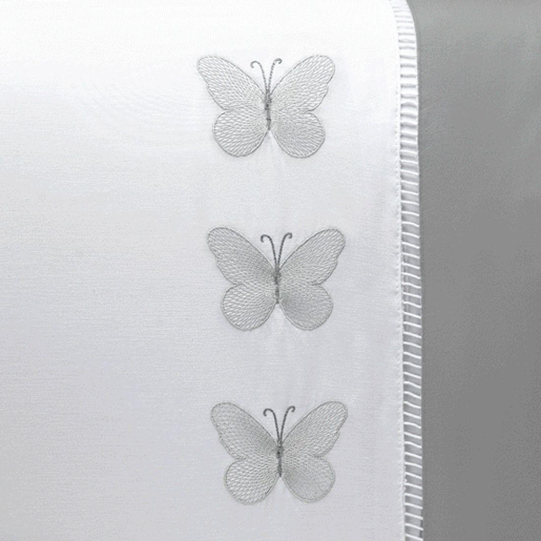 Jogo de Cama Papillons Branco Queen 04 Peças - Tecido Percal 180 Fios