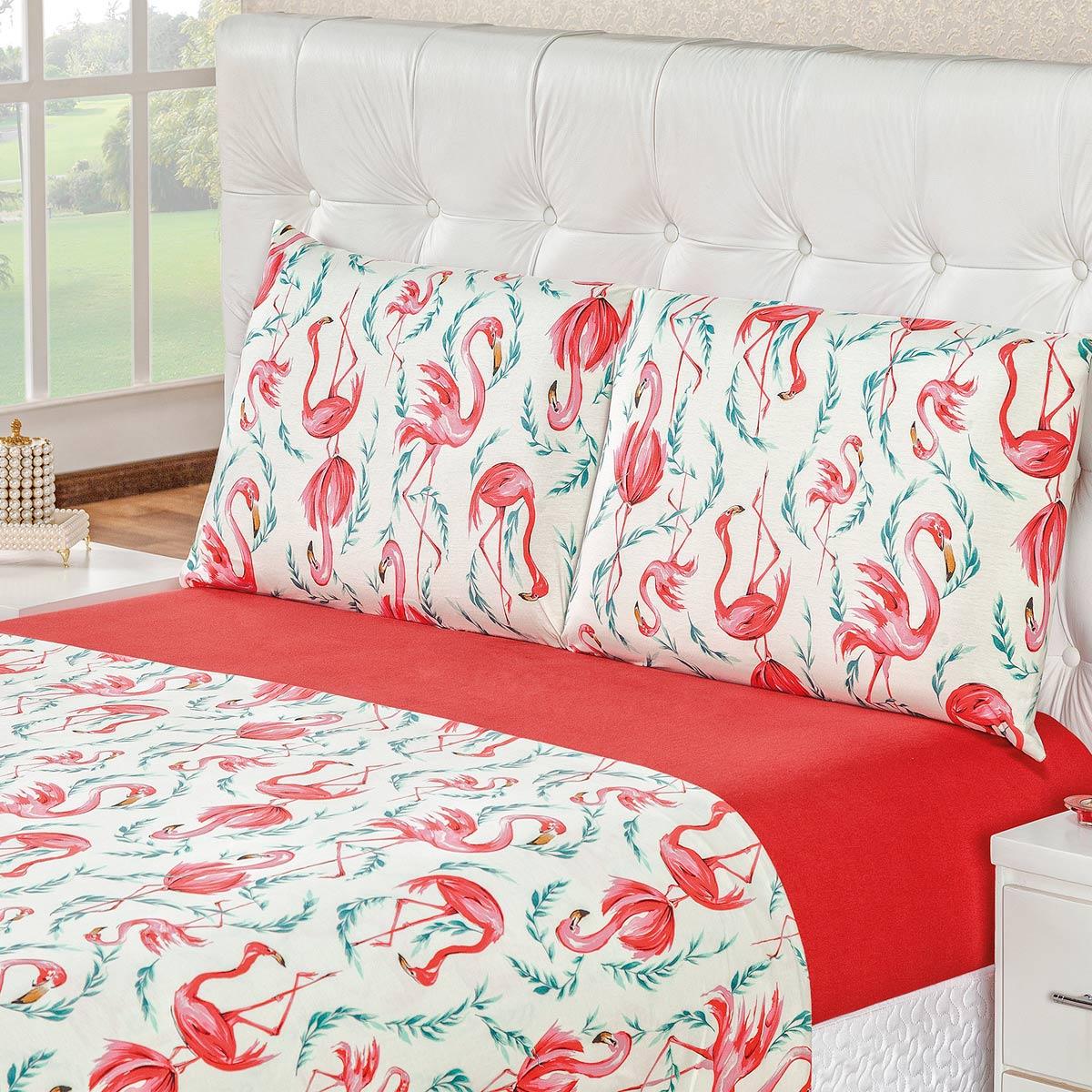 da4ec5522c Jogo de Cama Quality Flamingo Malha 100% Algodão King 04 Peças ...