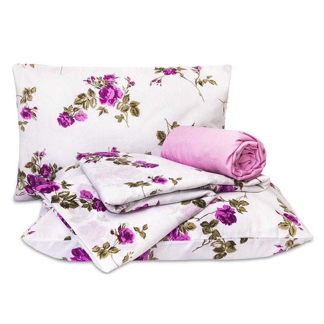 Jogo de Cama Standard Flores Pink Casal Padrão 160 Fios 04 Peças