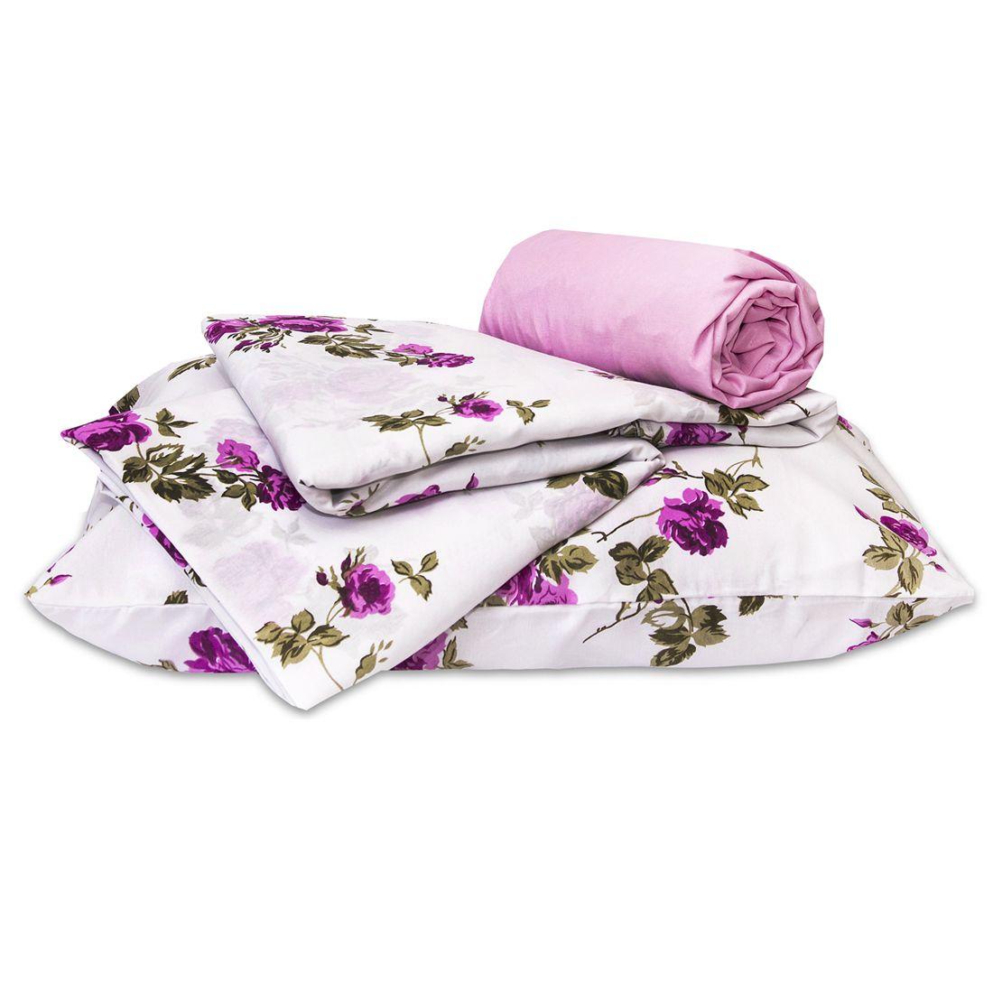 Jogo de Cama Standard Flores Pink Solteiro 160 Fios 03 Peças