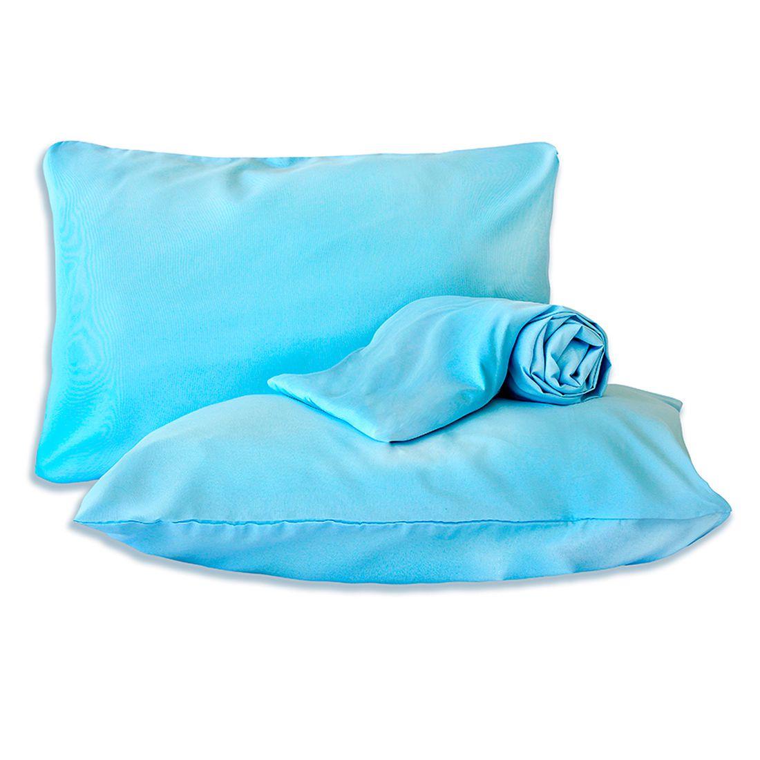 Jogo de Cama Standard Liso Azul Casal Padrão 160 Fios 03 Peças