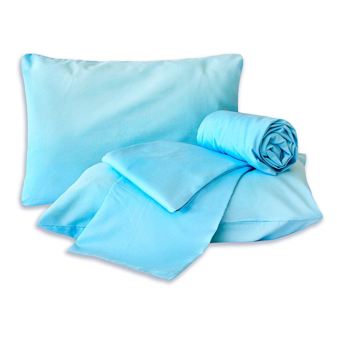 Jogo de Cama Standard Liso Azul Casal Padrão 160 Fios 04 Peças
