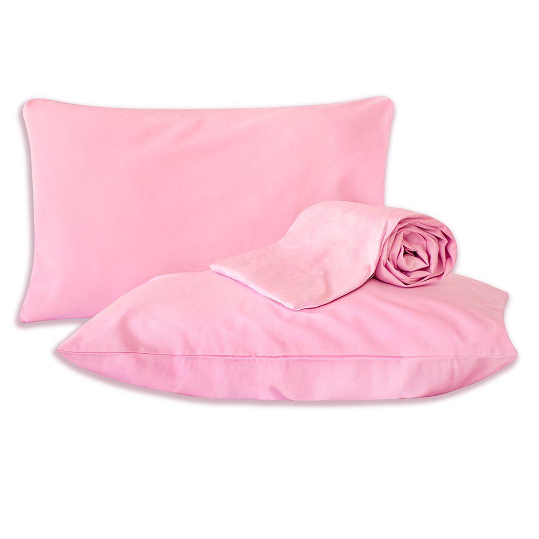 Jogo de Cama Standard Liso Rosa Casal Padrão 160 Fios 03 Peças