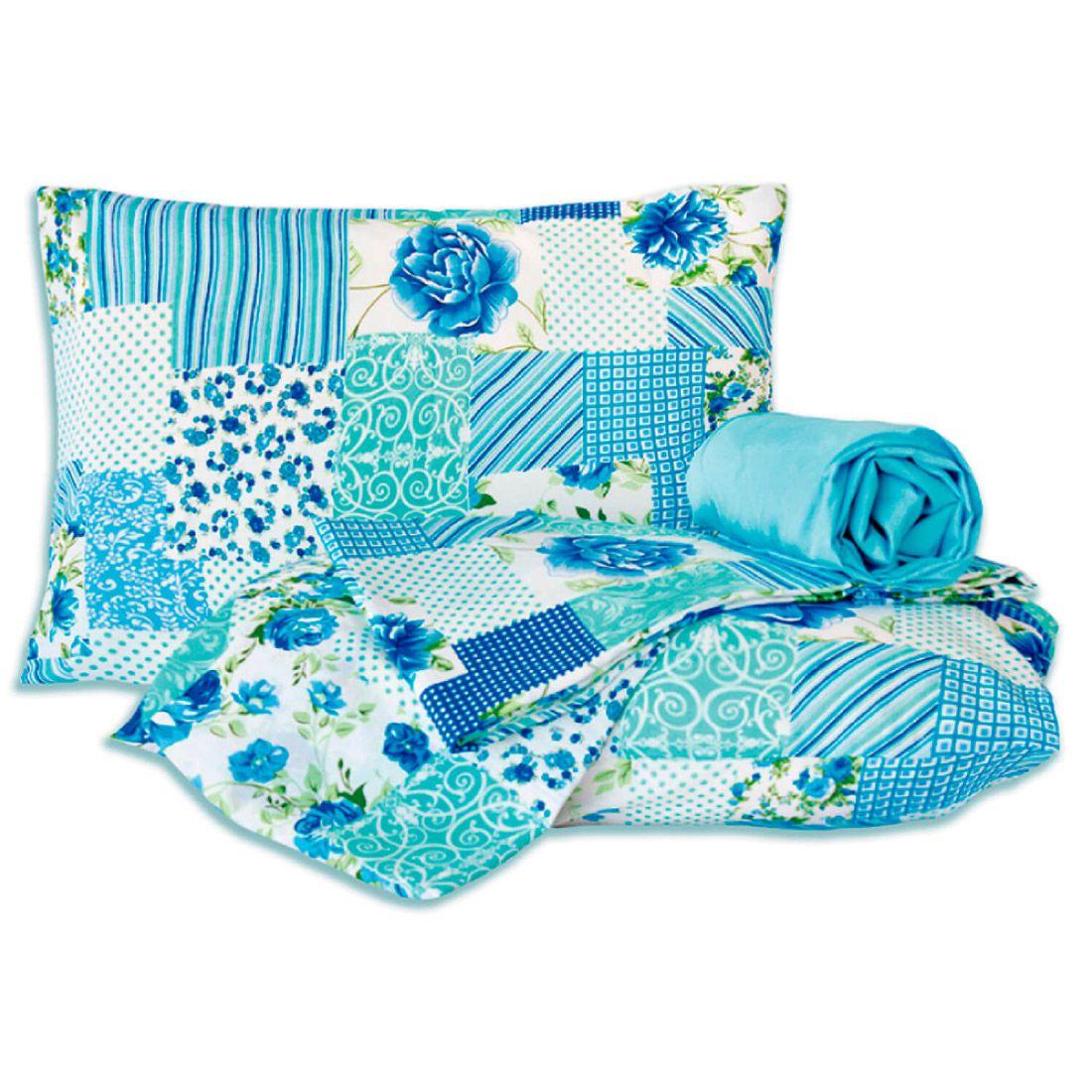Jogo de Cama Standard Patchwork Azul Casal Padrão 160 Fios 04 Peças